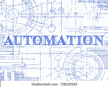 Automation text with gear wheels hand drawn on graph paper technical drawing background