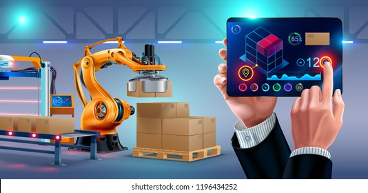 Automation of warehouse on smart factory, the robotic arm loading boxes on pallets. The application on the tablet manages the logistics of the plant. businessman holding a tablet