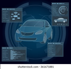 automobile abstract interface, vector illustration