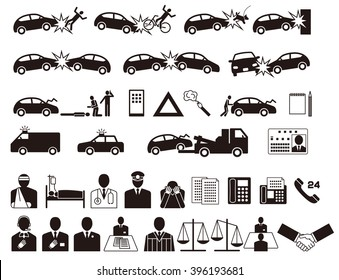Automobile accident. Traffic accident. Insurance company. icon