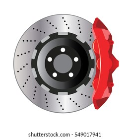 automobile car disc brake system isolate on white background vector illustrations