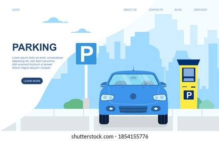 Automobile, car on modern parking lot in city or town. Road sign of parking lot with checkpoint. Website, webpage or landing page template. Cartoon flat vector illustration
