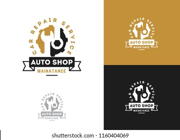 Automobile, car repairing service logo design, wrench in gear icon, mechanic tools vector illustration.