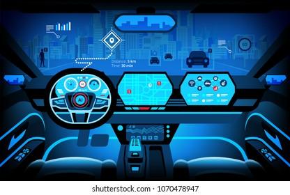 Automobile cockpit, various information monitors and head up displays. autonomous car, driverless car, driver assistance system, ACC(Adaptive Cruise Control), vector illustration