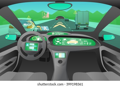 Automobile cockpit, various information monitors and head up displays. Landscape as seen from the car. autonomous car, driverless car, vector illustration