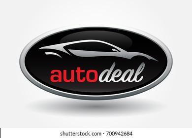 Automobile dealer concept logo design with sports car vehicle silhouette badge. Vector illustration.
