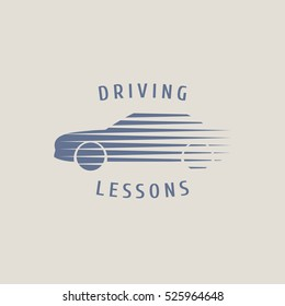 Automobile driving school vector logo, sign,  emblem. Silhouette of car graphic design element. Driving lessons concept illustration, insignia, sticker, banner