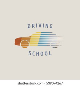 Automobile driving school vector logo, sign,  emblem. Car, auto, transportation graphic design element