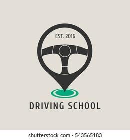 Automobile driving school vector logo, emblem. Steering wheel design element