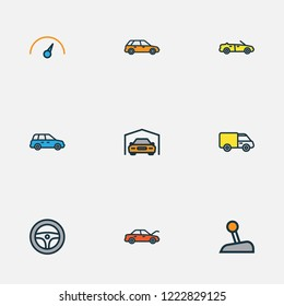 Automobile icons colored line set with station wagon, crossover, hood and other shed elements. Isolated vector illustration automobile icons.