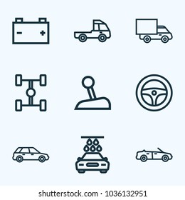 Automobile icons line style set with steering wheel, prime-mover, wheelbase and other truck  elements. Isolated vector illustration automobile icons.