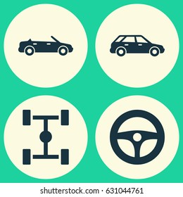 Automobile Icons Set. Collection Of Convertible Model, Wheelbase, Hatchback And Other Elements. Also Includes Symbols Such As Hatchback, Steering, Wagon.