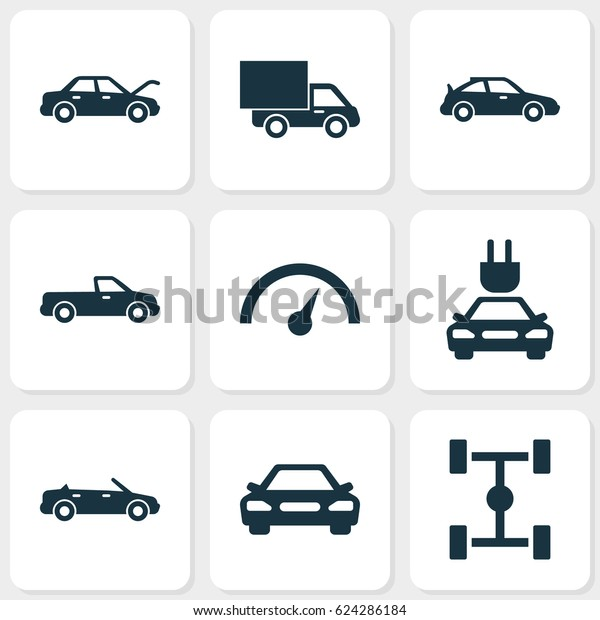 Automobile Icons Set Collection Convertible Model Stock