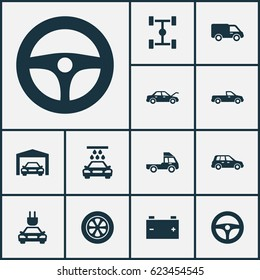 Automobile Icons Set. Collection Of Transport Cleaning, Accumulator, Van And Other Elements. Also Includes Symbols Such As Lorry, Electric, Water.