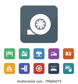 Automobile icons. vector collection filled automobile icons such as whell, tire, turbo, tow truck, car lift, car lock