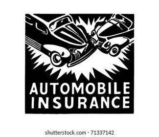 Automobile Insurance - Retro Ad Art Banner