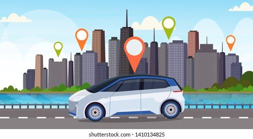 automobile with location pin on road online ordering taxi car sharing concept mobile transportation carsharing service modern city street cityscape background flat horizontal