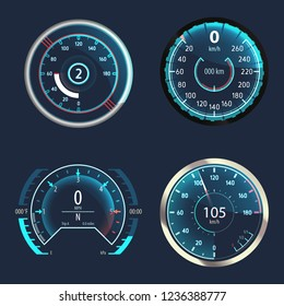 Automobile modern speedometer or set of isolated car odometer, analog truck odograph or gauge for measuring speed, tachometer at vehicle panel. Auto and performance display, transport theme