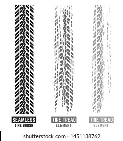 Automobile and motorcycle tire tracks elements with seamless brush. Grunge automotive addon useful for poster, print, brochure and leaflet background design. Vector illustration in monochrome colors.