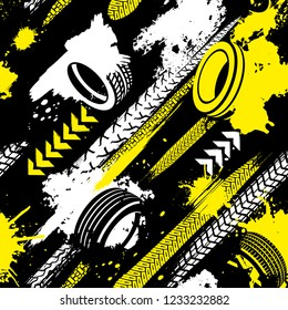 Automobile and motorcycle tire tracks seamless pattern. Grunge automotive addon useful for poster, print, leaflet background design. Editable vector illustration in black, yellow, white colors.