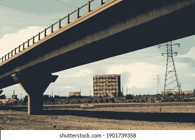 Automobile overpass. Cityscape with a road bridge. Vector Illustration