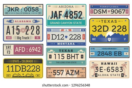 Automobile plate license. Utah usa or indiana different state car registration template vector design