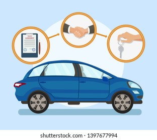 Automobile Purchase Steps Flat Vector Illustration. Vehicle Rental Process, Car Sale Business. Contract Conclusion, Buyer and Salesman Handshake, Keys Handover. Family Transport, Blue Minivan