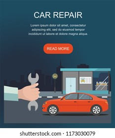 Automobile  repair Service and Maintenance isolated on night city background. Vector Illustration