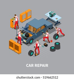 Automobile repair shop with  car undergoing maintenance service in garage isometric composition poster print abstract vector illustration