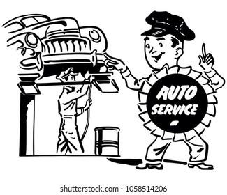 Automobile Repair Shop - Retro Clip Art Illustration