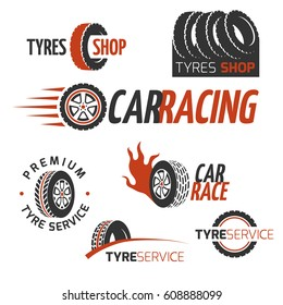 Automobile rubber tire shop, car wheel, racing vector logos and labels set. Automobile maintenance service, illustration of auto service logo garage