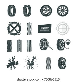 Automobile rubber tire shop logotype. Black tire icons logo set. Car wheels, wrenches, service and maintenance icons, tire repair, swapping, wheel replacement, car diagnostics. Vector illustration
