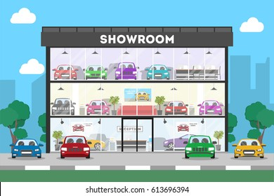 Automobile showroom building on white background. Cars, salesmen and visitors.