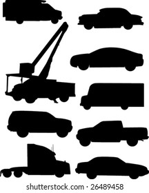 Automobile silhouettes.
