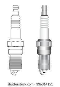 automobile spark plug vector illustrations