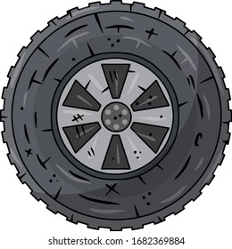 Automobile tire. Detail of wheel of car. Black circle object. Repair and maintenance. Cartoon illustration