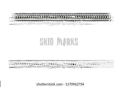 Automobile tire tracks vector illustration isolated on a white background.. Grunge element useful for poster, print, flyer, book, booklet, brochure and leaflet design. Editable  image in black color