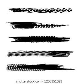 Automobile tire tracks vector illustration. Grunge automotive element useful for poster, print, flyer, book, booklet, brochure and leaflet design. Editable image in black color on a white background.