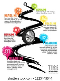 Automobile tire tracks vector illustration. Grunge automotive element useful for poster, print, flyer, report, leaflet design. Editable graphic image in bright color isolated on a white background.