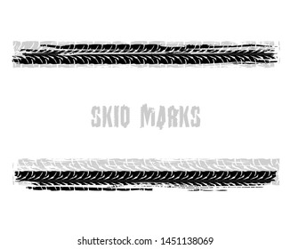Automobile tire tracks vector illustration. Grunge automotive element useful for poster, print, flyer, book, booklet, brochure and leaflet design. Graphic image in black color isolated on a white back