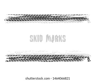 Automobile tire tracks vector illustration. Grunge automotive element useful for poster, print, flyer, book, booklet, brochure design. Editable image in black color isolated on a white background