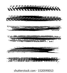 Automobile tire tracks vector illustration. Grunge automotive element useful for poster, print, flyer, book, booklet, brochure and leaflet design. Graphic image in black color on a white background