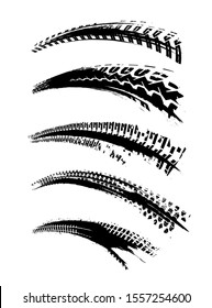 Automobile tire tracks vector illustration. Grunge automotive element useful for poster, print, flyer, book, booklet, brochure and leaflet design. Graphic image in black color isolated on a white