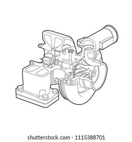 automobile turbocharger diagram outline vector illustrations