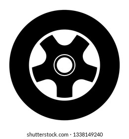Automobile vehicle, car tyre , car wheel symbol and tyre sign isolated on white background.