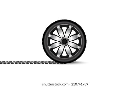 automobile wheel leaving a trace