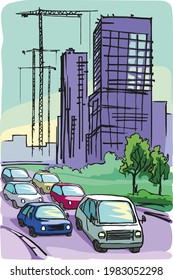 Automobiles drive along the road against the background of houses and cranes under construction. Color sketch.