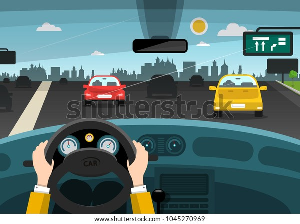 Automobiles on Street - Highway with City on Background. Vector Car Interior with Hands on Steering Wheel.