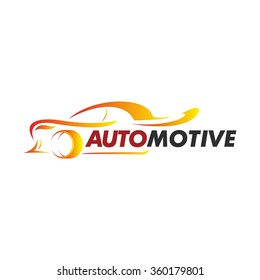 Automotive and car icon. Car silhouette color in gold and red with white background, Business logo design work