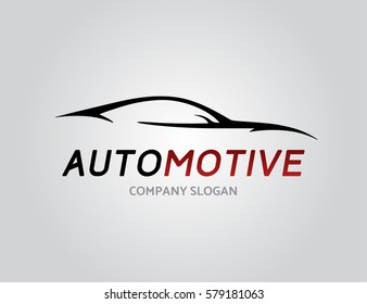 Automotive car logo design with concept sports vehicle icon silhouette isolated on light grey background. Vector illustration.